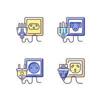 conjunto de ícones de cores rgb de tipos de soquete