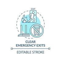 ícone do conceito de limpar saídas de emergência vetor