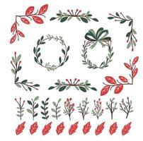 conjunto de elementos de decoração de plantas de natal para design de redemoinhos de diário de bala vetor