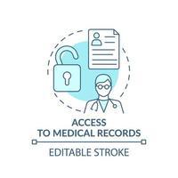 acesso ao ícone do conceito de registros médicos vetor