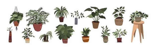 conjunto de elementos de decoração de plantas em vasos de interior adesivo polegar verde para diário de bala vetor