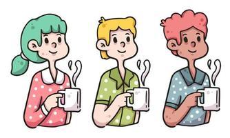 ficar em casa pessoas segurando ilustração de café vetor