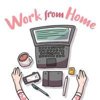 trabalho de casa covid-19 ilustração vetor