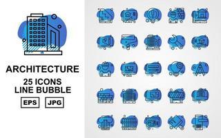 Pacote de ícones de bolhas com 25 linhas de arquitetura premium