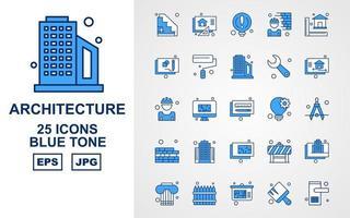 Pacote de ícones de 25 tons azuis de arquitetura premium