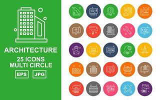 Pacote de ícones de 25 círculos de arquitetura premium