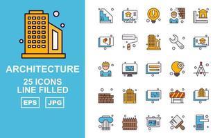 Pacote de ícones com 25 linhas de arquitetura premium