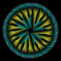 círculo abstrato fractal em amarelo azul vetor