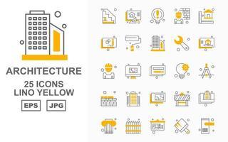 Pacote de ícones de 25 lino amarelo de arquitetura premium