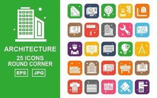 Pacote de ícones de 25 cantos redondos de arquitetura premium
