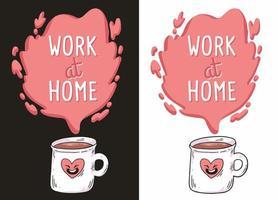 ilustração de coronavírus trabalhe em casa vetor