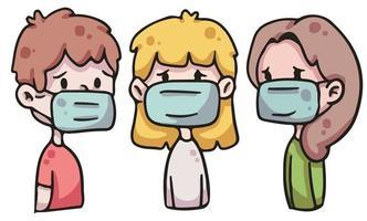 pessoas usando máscara facial covid-19 illustration vetor
