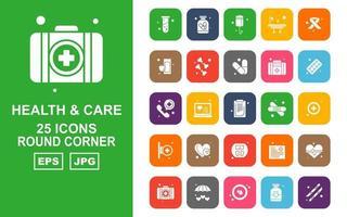 Pacote de ícones de 25 cantos redondos de saúde e cuidados premium vetor