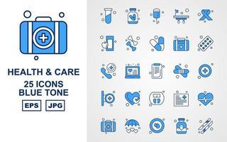 Pacote de ícones premium com 25 tons de azul para saúde vetor