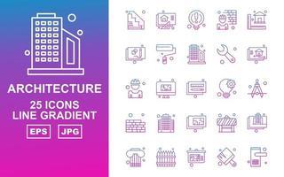 Pacote de ícones de gradiente de 25 linhas de arquitetura premium