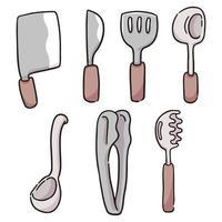 cartoon diferentes tipos de utensílios de cozinha ilustração bonito dos desenhos animados
