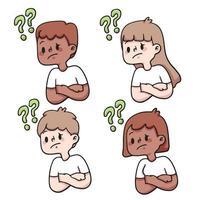 conjunto de perguntas de pessoas ilustração bonito dos desenhos animados vetor