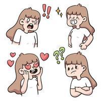garota tipo diferente de reação definir ilustração de desenho bonito vetor
