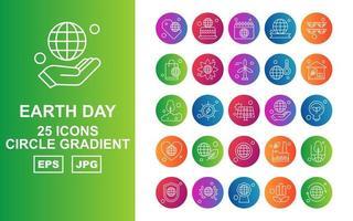 Pacote de ícones de gradiente de círculo de 25 dias da Terra