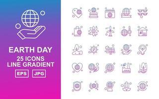 Pacote de ícones de gradiente de linha 25 premium do Dia da Terra