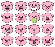 porco tipo diferente de emoção ilustração bonito dos desenhos animados vetor