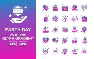 Pacote premium de ícones de gradiente de glifo para 25 dias da Terra
