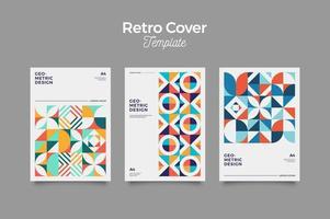 Conjunto de capas vintage retrô bauhaus design vetor