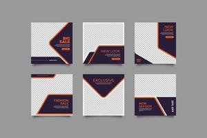 conjunto de design de modelo de banner de venda de moda vetor