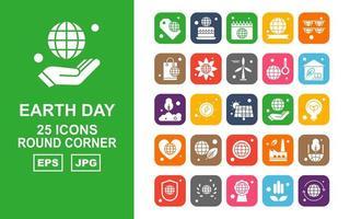 Pacote de ícones de 25 cantos arredondados para o Dia da Terra vetor