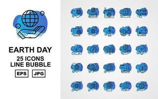 Pacote de ícones de bolha de 25 linhas premium do dia da terra