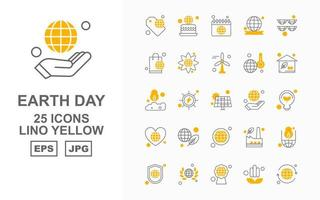 Pacote de 25 ícones premium lino amarelo do Dia da Terra