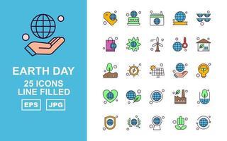Pacote de ícones com 25 linhas premium do Dia da Terra