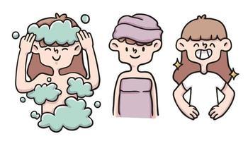 higiene feminina conjunto ilustração bonito dos desenhos animados vetor
