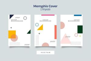 conjunto de vetor de capa de design de memphis mínimo