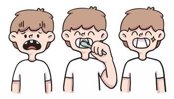 menino cuidando dos dentes ilustração bonito dos desenhos animados vetor