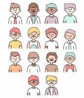 conjunto de imagem de perfil de meninos ilustração de desenho bonito vetor