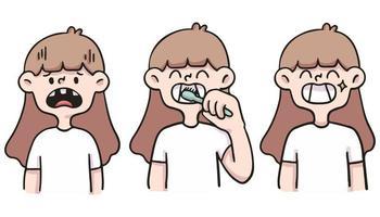 garota cuidando dos dentes ilustração bonito dos desenhos animados vetor