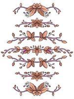 natureza deixa borda do quadro definida ilustração bonito dos desenhos animados vetor