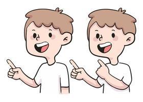 clique aqui apontando ilustração de pessoas fofas vetor