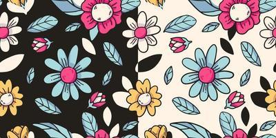 padrão sem emenda com flores desenhando desenhos animados vetor