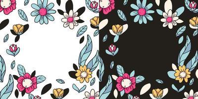 conjunto de quadro de elementos florais vetoriais