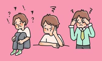 menino deprimido triste fracasso sem inspiração ilustração bonito dos desenhos animados desapontado vetor