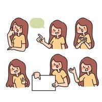 conjunto de garota fofa e emoções de espaço de texto e personagem de explicação