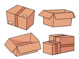 desenho de ilustração de desenhos animados de caixas de papelão