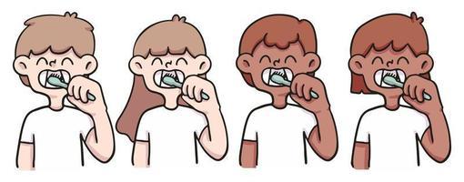 ilustração de pessoas bonitas escovando os dentes vetor