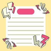 blocos de notas thunder designs de volta à escola para fazer anotações diárias vetor