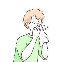 espirrando menino doente conceito de ilustração de desenho animado vetor