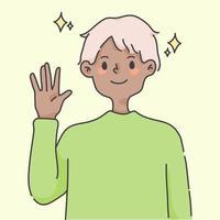 menino acenando com a mão cumprimentando ilustração de pessoas fofas vetor