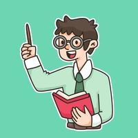 ilustração de desenho animado de instrutor de ensino vetor