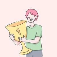 conceito de sucesso do troféu de vencedor do primeiro lugar